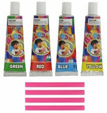 Ram-Pro Blow up Bubble Balloons - 4 Straws & 4 Tubes of Gooey Plastic Colors...