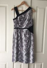 David Lawrence 100% Silk Dress **RRP $349** Black & White Snake Print Sz 10