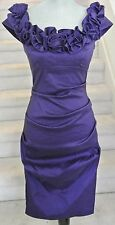Purple Sleeveless Rouched  XSCAPE by Joanna Chen Knee-Length Cocktail Dress,Sz 4