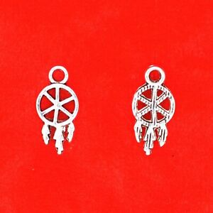 15 x Tibetan Silver Mini Dream Catcher Pagan Craft Charms Pendants