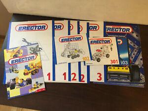 Erector Meccano Manual Lot of 11, 1, 2, 3, intro, 102, 301, 503, & Multiples