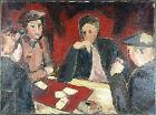 """Ancien Tableau """"Dix de Der"""" Peinture Huile Sur Toile Antique Painting Oil"""