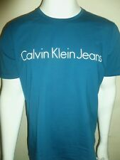 Calvin Klein TAMAS si è T-shirt Slim Fit Stretch Blu Zaffiro Taglia 2XL XXL Nuovo con etichette