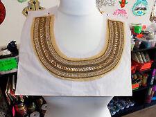 bead gold crystal sequin collar YOKE chest applique motif moroccan arab asian