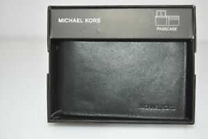 Michael Kors Men's Wallet Black Smooth Full Grain Leather Bifold Passcase $40