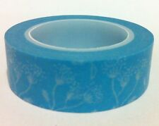 WASHI TAPE -FLORAL ON BLUE  15MM WIDE X 10MTR ROLL SCRAP PLAN CRAFT WRAP