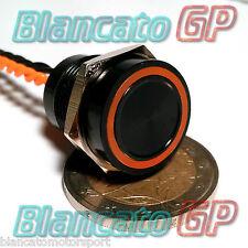 PULSANTE PIEZOELETTRICO 16mm NERO LED ARANCIO 12V auto piezo switch interruttore