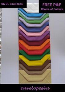 Hi Quality Coloured DL 220 x 110mm Envelopes for Cards 100gsm Dia. Flap FREE P&P
