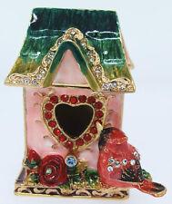 Cardinal Bird House ~ Bejeweled Enamel Trinket Box 3349