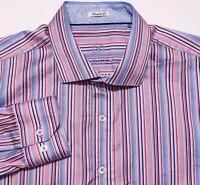 BUGATCHI UOMO Long Sleeve Button Shirt Pink Blue Striped XXL 2XL Shaped Fit