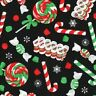 100% Cotton Quilting Fabric By the Yard Christmas Candy & Lollipops