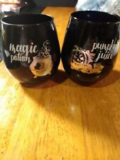Halloween Black Stemless Wine Glass Set Of 2 magic potion/ pumpkin juice