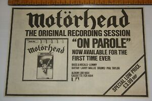 "MOTORHEAD ""On Parole"" New LP 1979 Original Melody Maker ADVERT/POSTER Rare"