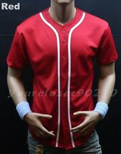 Mens Baseball Jersey raglan Plain T- Shirt Team Sports Button down Casual Shirts