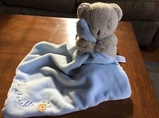 FREE SHIPPING Vintage Carters Lovey Bear Blue Velour Security Baby Blanket