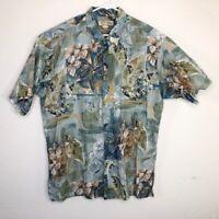 Tori Richard Mens Hawaiian Shirt Green Brown Floral Short Sleeve Cotton Aloha XL