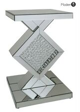 MIRRORED WITH FLOATING CRYSTAL PEDESTAL STAND, MIRRORED CRYSTAL END TABLE