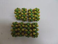 "KW-329 Vintage Napkin Rings Wooden Beads Set of 8 2"" DIA X 1"" H YELLOW GREEN"