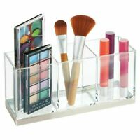 mDesign Plastic Makeup Organizer Storage Caddy Bin, 3 Sections