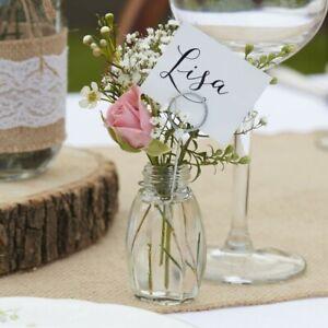 X4 Vintage Salt & Pepper Glass Name Card Holder Table Decoration Bud Vase