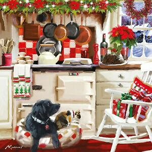 CHARITY Christmas Cards   Festive Kitchen Black Labrador & Cat   Pack 10