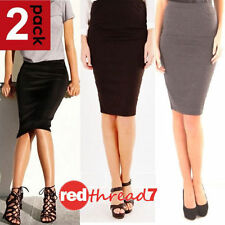 Regular Knee-Length Stretch Knit Skirts for Women