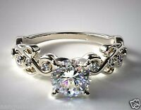 14k Solid White Gold 1.63 ct Brilliant Cut Pave Set Diamond Engagement Ring