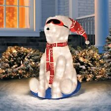 Outdoor Lighted Tinsel Polar Bear On Sled Christmas Decoration Yard Sculpture