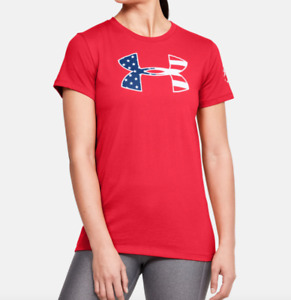 Under Armour Tee Womens Authentic UA Freedom Stars and Stripes Red XS or Small