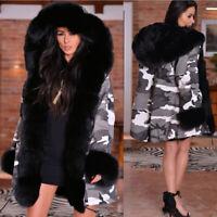 Roiii Womens Warm Fur Collar Long Coat Hooded Casual Winter Parka Outwear Jacket