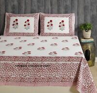 Queen Size 100% Cotton Quilt Bedding Cover Indian Floral Bed Cover Bed Sheet