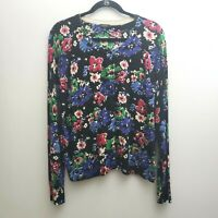 TALBOTS  Floral Cardigan XL Black Pink Green Cotton Blend Long Sleeves Sweater