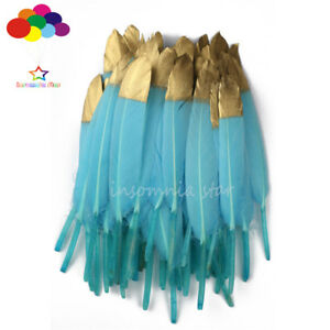 Duck Feather Sky Blue Dyed Gold Head 6-8Inch/15-20cm 10-100Pcs Diy Carnival Mask