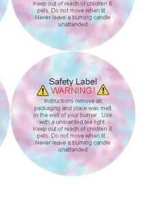 120 Round CLP Wax Melt Candle Stickers / Labels - Safety Warning Law Legal seal