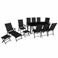 vidaXL Outdoor Furniture Set 12 Piece Aluminum Folding Table Chairs Sunlounger