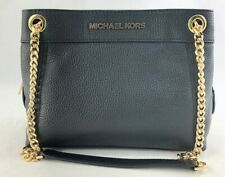 New Michael Kors Jet Set Medium Chain Messenger Handbag Purse Black Leather