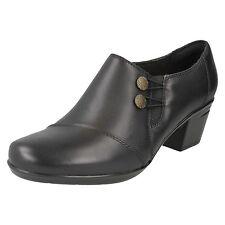 Ladies Clarks Smart Heeled Shoe Emslie Warren UK 6 Black E