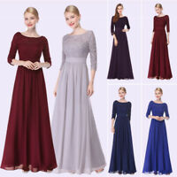 Women's Lace V-Neck Long Sleeve Floor Length Evening Dresses Maxi Party Dresses