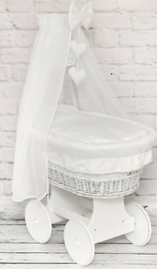 BABY FULL BEDDING SET WITH CANOPY TO FIT WICKER MOSES BASKET WHITE