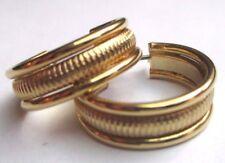 boucles d'oreilles percées bijou vintage plaqué or anneaux gravés 3036