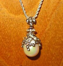 Russian FABERGE inspired Silver ENAMEL Swarovsky PEARL Crystal EGG pendant chain