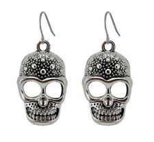 Silver Skull Head Earrings Pumpkin Skeleton Halloween Gothic Dangle Jewellery UK