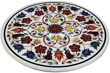 "30"" White Marble Center Table Top Carnelian Inlay Pietradura Living Room Decor"
