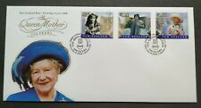 2000 New Zealand Queen Mother 100 Years 3v Stamps FDC