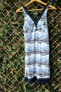 Peter Alexander Ladies Pyjama {BLUE FLORAL LACE SLINKY NIGHTIE} Size S