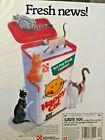 "Purina Happy Cat Food 1989 Print Ad ""Fresh News"" Ralston Purina Co."