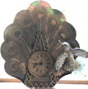 Antique Art Nouveau Silver Ansonia Peacock Feathers & Hummingbird Mantle Clock