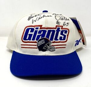 Vintage 90s Reebok NFL Proline NY Giants Snapback Hat Cap Autographed Bart Oates