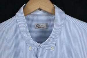 Peter Millar Crown Soft Mens sz XXL Blue White Striped Silk Blend LS Shirt