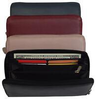 Women RFID Bifold Ladies Cluth Wristlet Wrist Strap Long Purse Leather Wallet